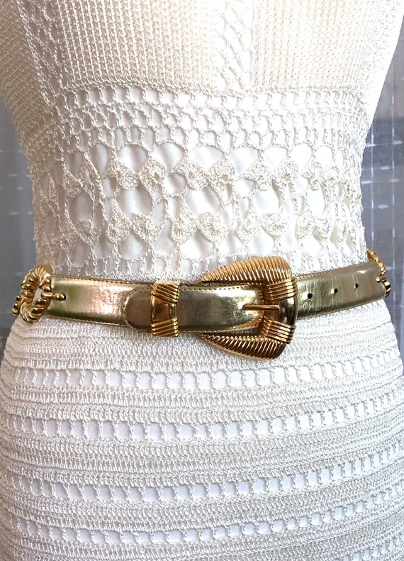 80s//Gold Leather Belt//Size S//Size M//Gold Belt - image 3
