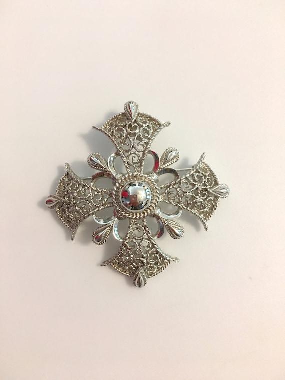 Crown Trifari Brooch//Silver Brooch // 50s//Silver