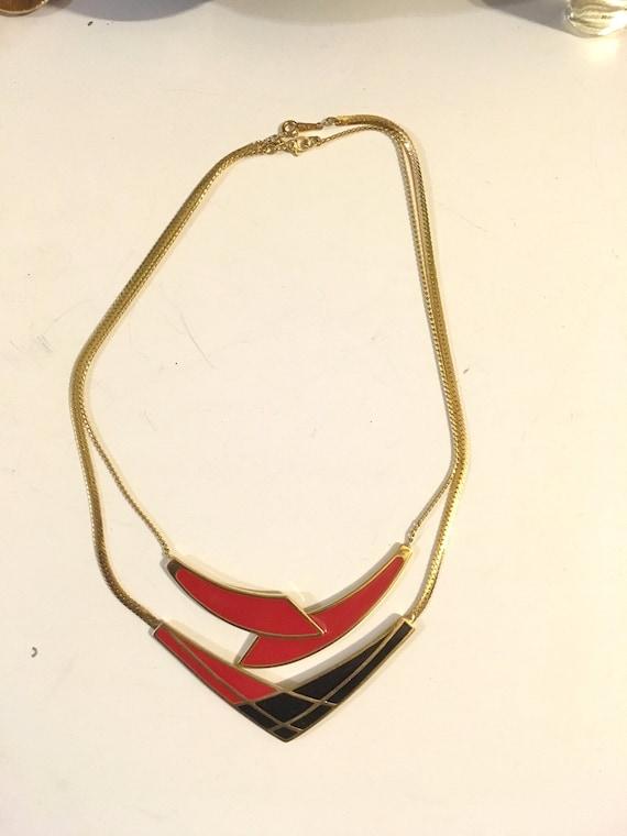 2// 80s Necklace //Enamel on Brass // Geometric Ne