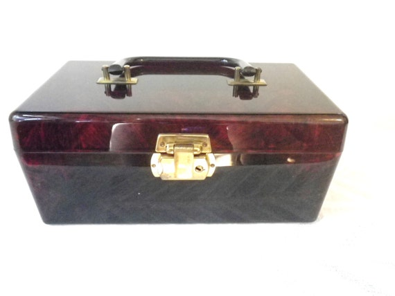 50s//Lucite Handbag//Bag//Purse // Large //Brown … - image 1
