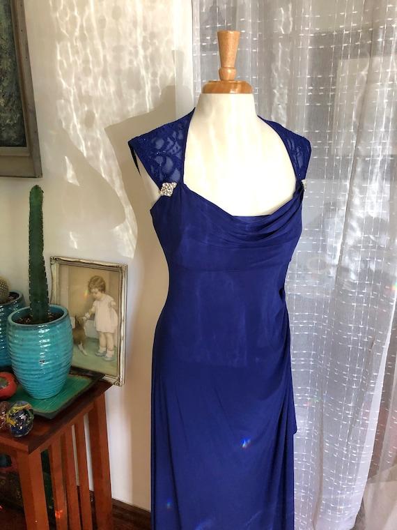 Long Blue Dress//40s Reproduction Dress//Size 12//