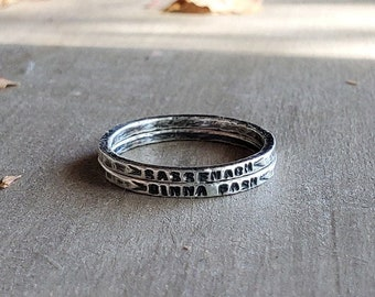 Sassenach Ring,Outlander Ring,Outlander Jewelry,Sassenach,Stamped Silver Rings,Customizable Ring,Hypoallergenic Rings,Stackable Silver Rings