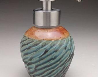 "Aqua & Earthtone Foaming Soap Dispenser,  Bronze Tone or Silver Tone Stainless  Steel Dispenser Pump. ""Made to Order"""