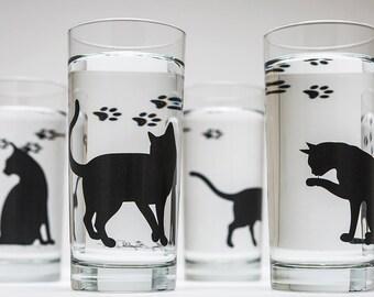 Cat Glassware - Set of 4 Everyday Glasses, Cat Glasses, Drinking Glasses, Cat Lover, Cats, Black Cat, Cat Glass, Black Cats, Cat Paw Prints