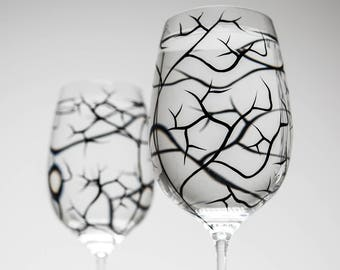Winter Tree Branch Wine Glasses - Set of 2 hand painted wine glasses, Bare Branches, bare tree branches, painted glassware, black trees