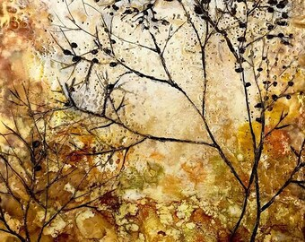 Golden Tree: Fine Art Print from encaustic was painting