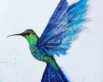 Hummingbird in Flight: Art Prints, Bird Lover Artwork, Gift for Her