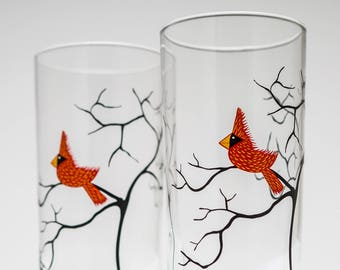 Cardinal Glassware - Set of 2 Everyday Drinking Glasses, Christmas Glasses, Christmas Tabletop, Holiday Glasses, Gifts for her, Red Birds