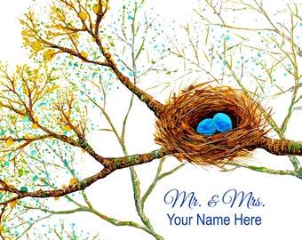 "Bird Nest Personalized Wedding Print 11"" x 14"" - Personalized Gift for Newlyweds, Personalized Wedding Gift, Anniversary Gift, Mr & Mrs"