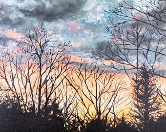 Backyard Sunset : 12 x 16 Inch Stretched Canvas Wrap Print
