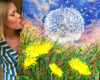 Dandelion Breeze - Original Mixed Media Encaustic Painting - 30 x 24 Inches