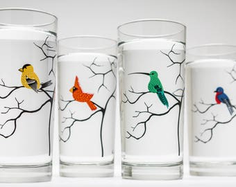 Four Birds Glassware - 4 Everyday Water Glasses, Bird Glasses, Cardinal, Bluebird, Golden Finch, Hummingbird, Gifts for Her, Bird Lover