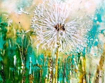 Wish: Dandelion Art Print from Artist Encaustic Painting, Botanical Artwork, Birthday Gift