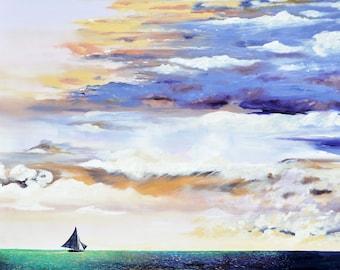 Headed Home : 5 x 7 Inch Fine Art Print, Ocean Sunset, Sailboat Artwork