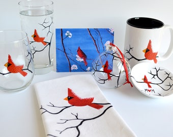 Christmas Cardinal Gift Set Collection - 7 Piece Personalized Gift Set for Mom or Grandma, Ready to Gift for Christmas, FREE SHIPPING