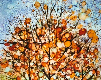 Happy Fall Trees : Fine Art Fall Leaves Greeting Card, Abstract Artwork, Autumn Landscape