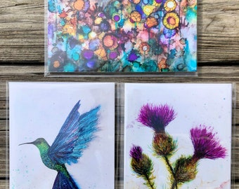 Boxed Set Collection of 3 Art Prints: 5 x 7 inch Prints including Hummingbird, Thistle and Field of Flowers, Alcohol Ink Paintings
