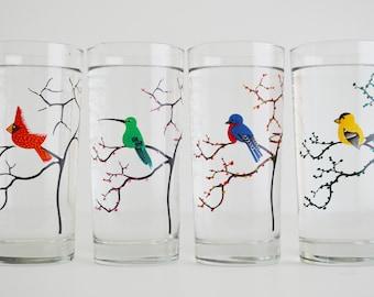 The Four Seasons Bird Glassware - 4 Everyday 16 oz Glasses, Cardinal, Hummingbird, Finch and Bluebird Drinking Glasses, The Four Seasons
