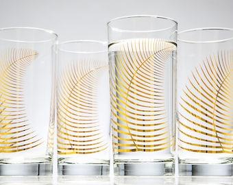 Metallic Gold Fern Glasses - Highball Drinking Glass, Festive Holiday Christmas Decor