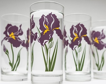 Purple Iris Drinking Glasses - Highball Botanical Glassware, Mother's Day Gift, Irises