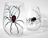 Black Widows Stemless Wine Glasses Set of 4