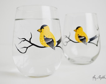 Finch Stemless Wine Glasses - Set of 2 Stemless Wine Glasses - Finches Glassware, Gift for Her, Mother's Day Gift