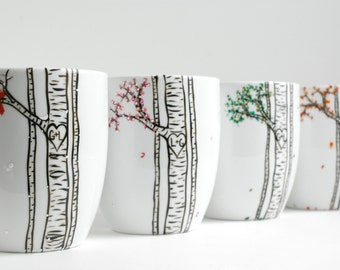 Four Seasons Aspen Forest Collection - 4 Large Personalized Mugs in Winter, Spring, Summer and Fall