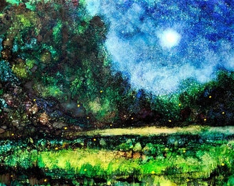 Fireflies : Art Print from Alcohol Ink Artwork, Summer Night Lightening Bug Painting