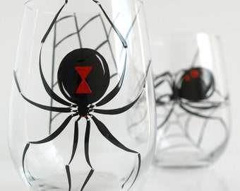 Black Widow Spider Halloween Glasses - Set of 2 Hand Painted Stemless Wine Glasses