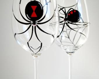 Black Widow Spider Wine Glasses - Set of 2 Hand Painted Halloween Glasses