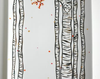 Anniversary Gift, Birch Trees Platter, Large Hand Painted Personalized Wedding and Anniversary Platter - Birch Tree Wedding, Birch Forest