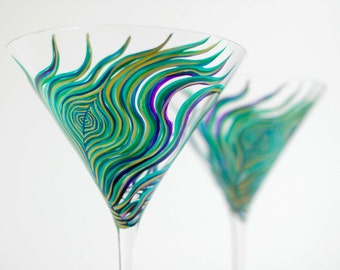 Peacock Feather Martini Glasses - Set of 4 Hand Painted Martini Glasses