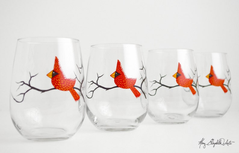 Set of 2 Red Bird Glasses Cardinal Glasses Holiday Decor Christmas Glasses Red Cardinal Wine Glasses