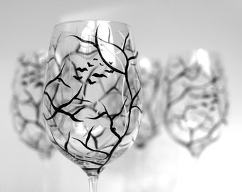 White and Black Tree Branch Wine Glasses - Set of 2 Hand Painted Wine Glasses