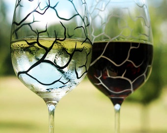 Black and White Tree Branch Wine Glasses - Set of 2 Hand Painted Glasses