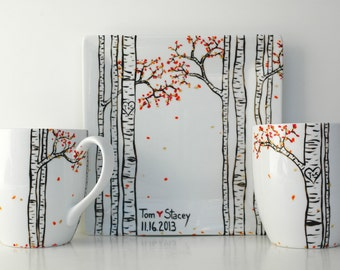Aspen Forest - 3 Piece Personalized Anniversary Collection - Large Mugs and Sharing Plate