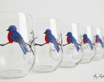 Bluebird Stemless Wine Glasses - Set of 6 Stemless Bluebird Glasses - Bluebirds, Blue Bird Glasses, Bluebird Wine Glasses, Blue Birds