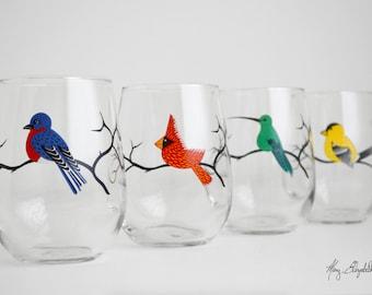 Four Birds Stemless Glassware - Red Cardinal, Hummingbird, Bluebird, Yellow Finch Glasses - Set of 4 Colorful Bird Glasses