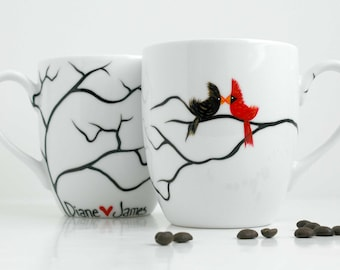 Personalized Love Birds Coffee Mugs - Set of 2 Personalized Mugs for Valentines Day