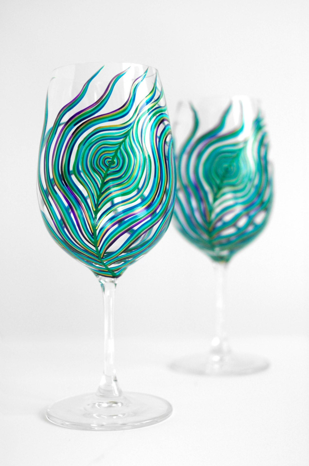 Peacock Feather Wine Glasses - Set of 2 Hand Painted Peacock Glasses in Sapphire, Emerald, Aqua, Plum and Gold
