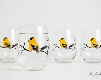 Golden Finch Stemless Wine Glasses - Set of 4 Stemless Finch Glasses - Finches, Yellow Finches, Golden Finches, Yellow Bird Glassware