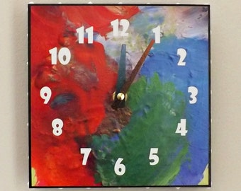 Bright Color Clock, Home Decor, Contemporary Clock, Wall Clock, Red, Blue, Green, Funky Clock, Housewares, Modern, Chic