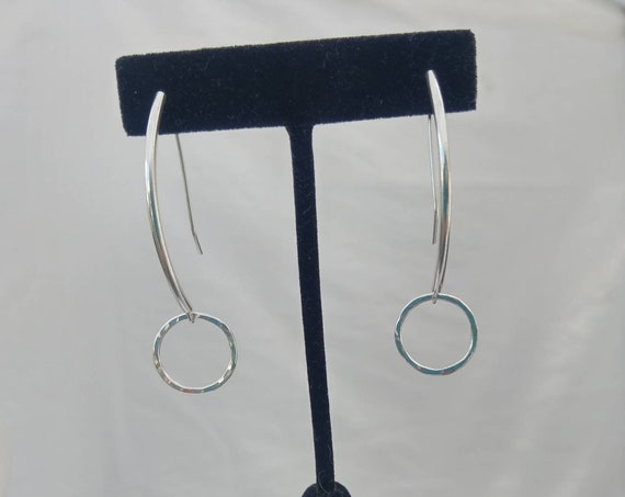 Hammered Sterling circle dangles from sterling silver tube earwires