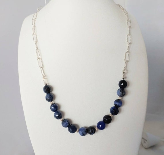 Faceted sodalite, corrugated sterling silver breads and chain necklace.