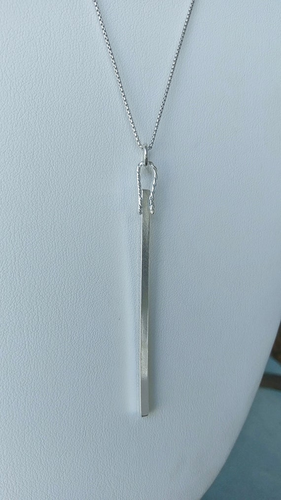 "Sterling Silver square bar! Simplicity PLUS! Flattened twisted wire bail. Hangs on 30"" ss box chain"