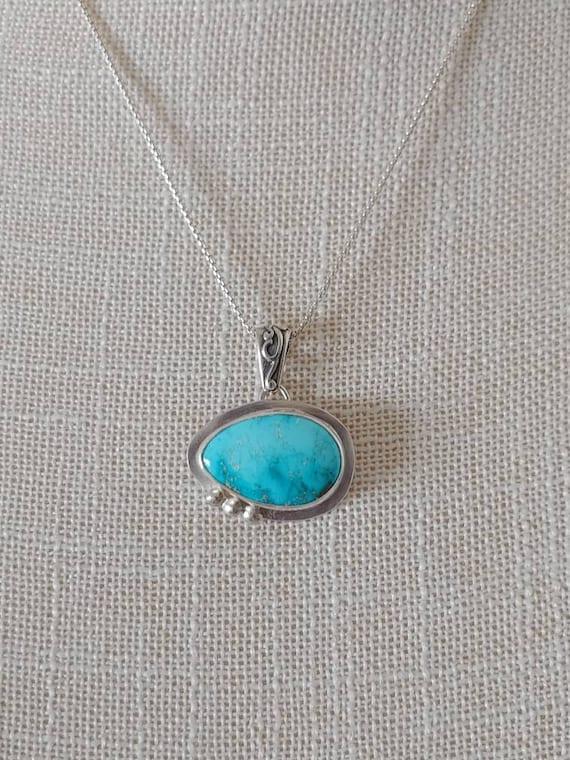 Kingman Mountain Turquoise with three beads necklace.