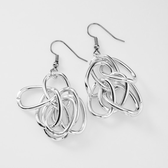 Aluminum chain linked dangle earrings on surgical steel french wires.  Part of the LOOPY line.
