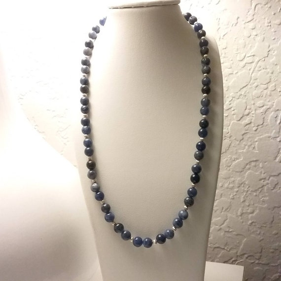 6mm Sodalite and corrugated sterling bead necklace!  Lobster claw clasp. Great with jeans.  Best selling gemstone.  Loose fit!
