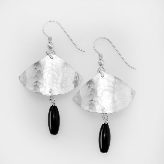 Hammered Sterling triangle with black onyx bead dangles from sterling silver earwires.