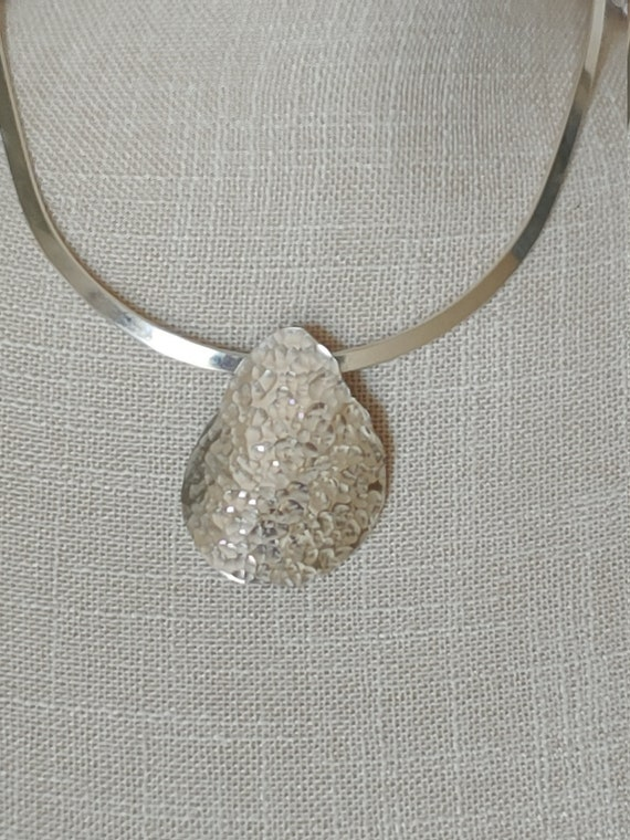 Simple Elegance! Sterling textured teardrop pendant on the best fitting collar EVER!!!